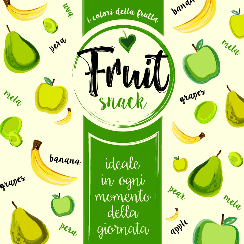 Illustrazione Packaging Fruit Snack, Mix di frutti bianchi