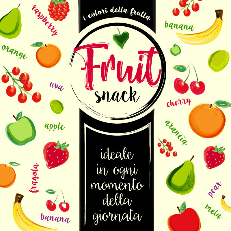 Illustrazione Packaging Fruit Snack, Mix di frutti bianchi e rossi